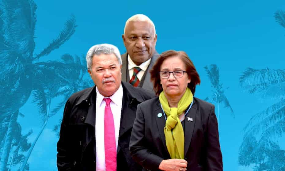 (L) Enele Sopoaga of Tuvalu, (M) Frank Bainimarama of Fiji, (R) Hilda Heine of the Marshall Islands.