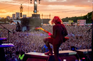 Dave Keuning of the Killers in Hyde Park on Saturday.
