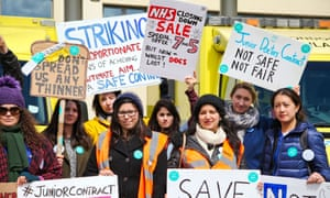 Junior doctors on strike outside North Middlesex hospital in London