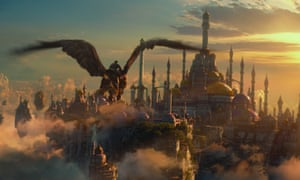 Warcraft (2016) still showing a flying dragon and a magical cityscape