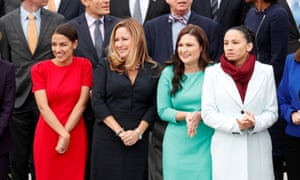 Democratic Representatives-elect Alexandria Ocasio-Cortez of New York, Debbie Mucarsel-Powell of Florida, Abby Finkenauer of Iowa and Sharice Davids of Kansas on Capitol Hill in Washington DC on 14 Novemer.