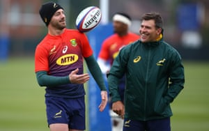 Willie le Roux with Schalk Brits during a training session    in London this week.