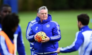 Chelsea's interim manager, Guus Hiddink, conducts a training session at Cobham.
