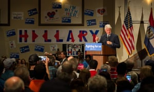 Former US president Bill Clinton speaks to Democratic presidential candidate Hillary Clinton's supporters during a rally in Bridgeton, Missouri on 8 March 2016.