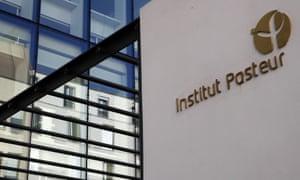 View of the logo at Pasteur Institute in Paris