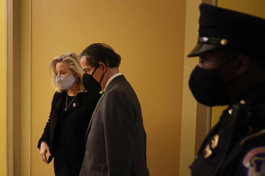 Republican congresswoman Liz Cheney with Democrat Jamie Raskin after the House vote.