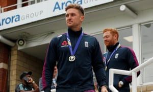 Jason Roy during the celebrations to mark England's World Cup triumph. The batsman has earned a call-up to the Test squad for the match against Ireland