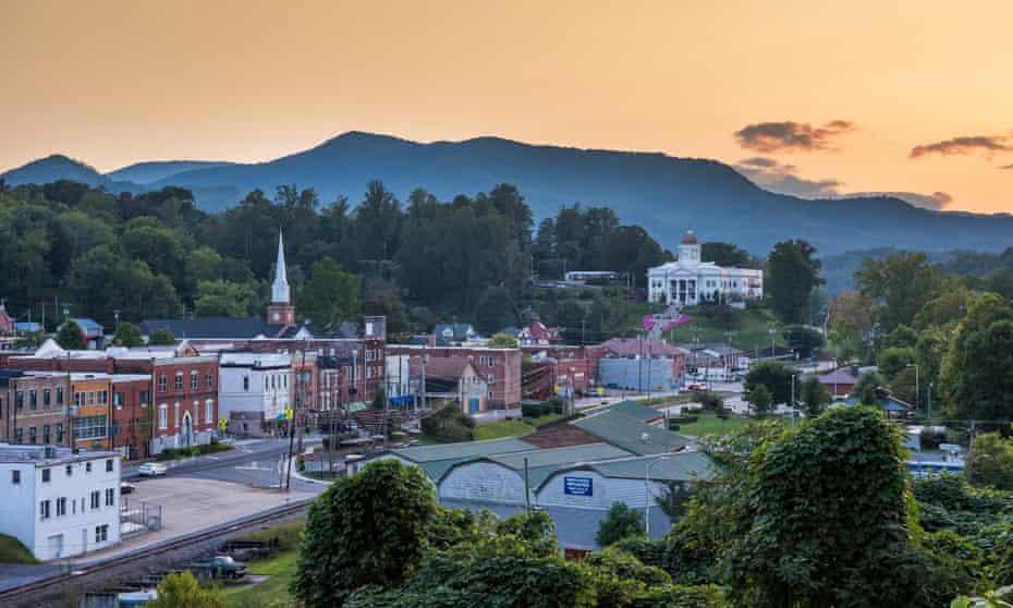 Downtown Sylva at dusk.