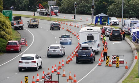 Motorists are stopped at a checkpoint at Coolangatta on the Queensland-New South Wales border