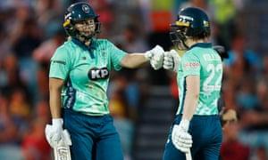 Oval Invincibles' Dane van Niekerk (left) celebrates her half-century with Mady Villiers.