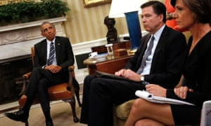 Obama with FBI Director Comey and Deputy Attorney General Yates.