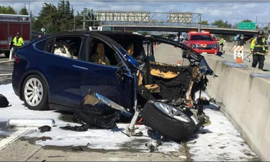 A Tesla Model X crashed into a barrier on U.S. Highway 101 in Mountain View, Calif. Tesla says the driver, who was killed in the accident, did not have his hands on the steering wheel for six seconds before the crash.