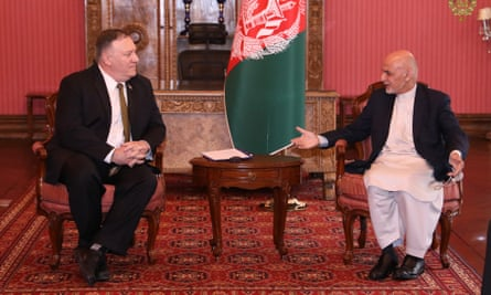 The president of Afghanistan Ashraf Ghani receives US Secretary of State Mike Pompeo in Kabul
