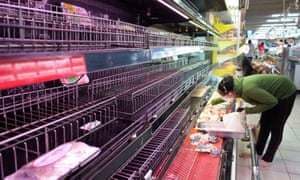 Food shelves stand empty due to panic buying in Ho Chi Minh City.