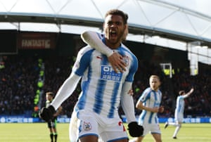 Steve Mounie of Huddersfield Town celebrates after scoring his sides second goal during their 4-1 win over Bournemouth at the John Smith's stadium.