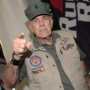 Ermey pictured in familiar pose in 2014.