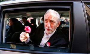 Labour leader Jeremy Corbyn looking out of a car window holding a flower on the final day of campaigning