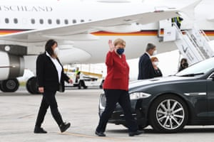Angela Merkel, the German chancellor, arrives at Cornwall airport, Newquay, ahead of the G7 summit.