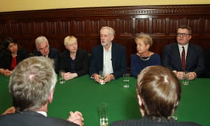 Jeremy Corbyn chairing his first shadow cabinet meeting.
