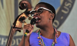 Cécile McLorin Salvant performing at the Newport jazz festival