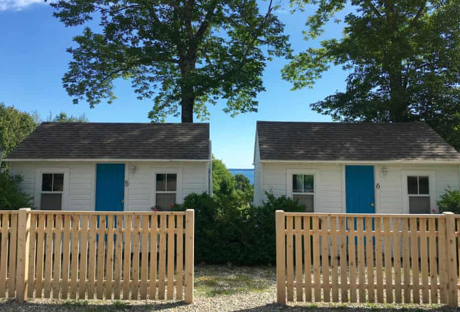 On a sunny, blue-sky day, cabins at Lincolnville Motel, Lincolnville, Maine.