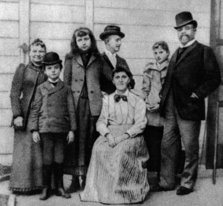 Dvorak, right, and wife Anna, far left, newly arrived in the United States in 1892.