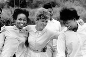 A volunteer teacher with her students at a Freedom School in Mileston, a community of black farmers in the Mississippi delta, August 1964