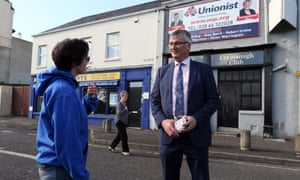 Tom Elliott, the Ulster Unionist candidate for Fermanagh and South Tyrone, canvassing in Enniskillen.