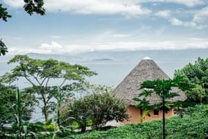 The Esperance (Hope) Agency ecotourism lodge overlooking Lake Kivu, on the Idjwi Island