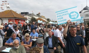 The Brexit party rally on the sea front at Clacton-on-Sea earlier, where Nigel Farage was speaking.