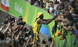 Usain Bolt celebrates with the crowd after winning the 100m at the Rio Olympic Games.