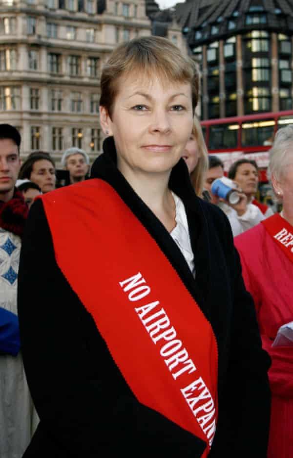 Caroline Lucas protesting against Heathrow expansion in 2008