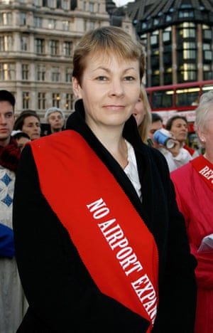 Caroline Lucas protesting against Heathrow expansion in 2008