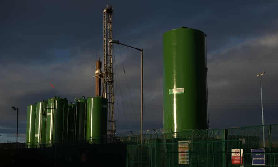 Fracking rig in Ellesmere Port, Cheshire, England