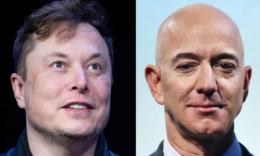 Elon Musk (left) and Jeff Bezos.