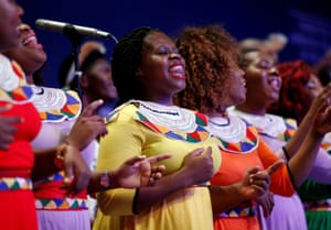 The Durban gospel choir performs at the closing ceremony of the World Economic Forum