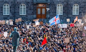 Protesters in Reykjavik in April before the resignation of the prime minister Sigmundur Davið Gunnlaugsson
