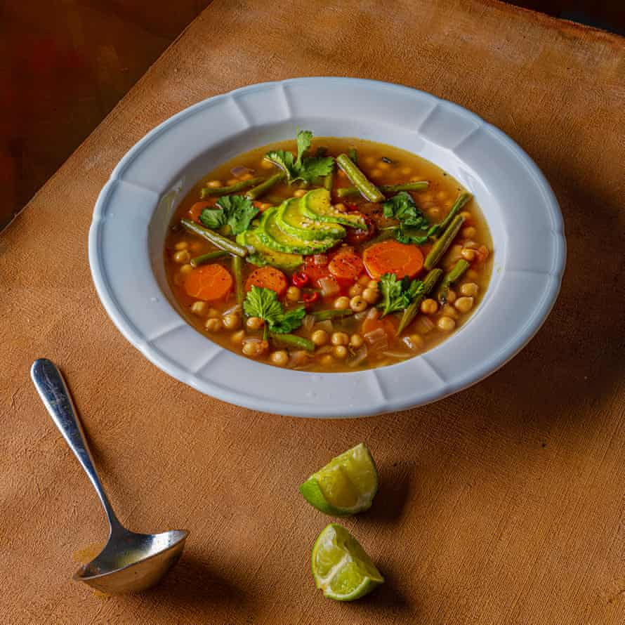 Mexican vegetable soup with lime and avocado.