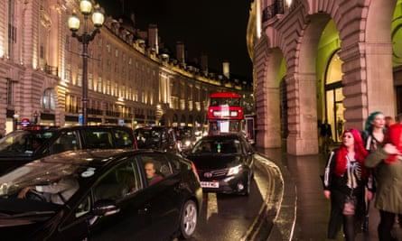 An Uber taxi on Regent Street in London.