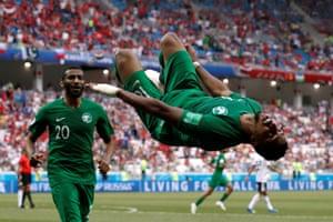 Saudi Arabia's Salem Al-Dawsari celebrates scoring their late winner against Egypt
