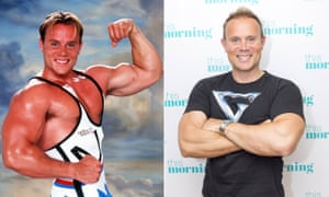 Composite image showing Warren Furman (Ace) from Gladiators, pictured in 1995 and 2017