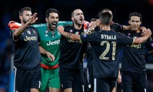 Gianluigi Buffon celebrates with his teammates at the end.