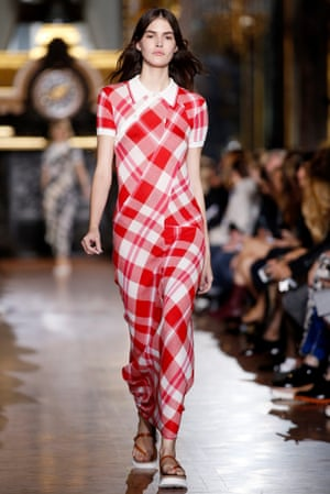 A red gingham dress with a polo shirt top