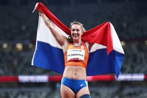 Marlene van Gansewinkel of the Netherlands celebrates after winning gold and setting a new Paralympic record.