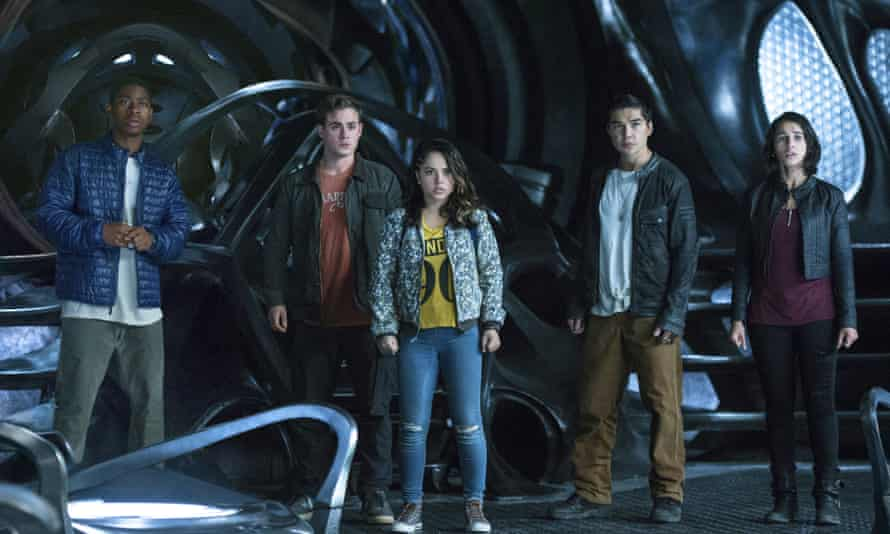 'She's questioning who she is' … Trini the Yellow Ranger, played by Becky G (centre), in Power Rangers