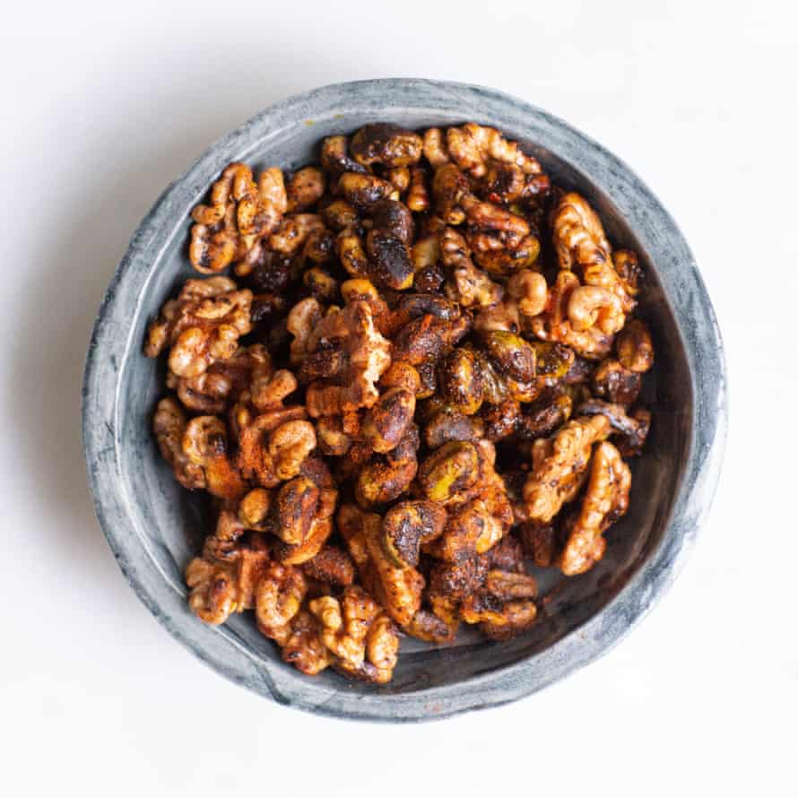 Tom Hunt's spiced nuts will do for those stale nuts in your store-cupboard.