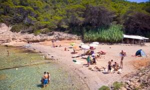 Cala Xuclar. Beach. Sant Joan de Labritja. Ibiza. Balearic Islands. Spain.