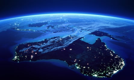 Australia and the curve of the Earth viewed from space