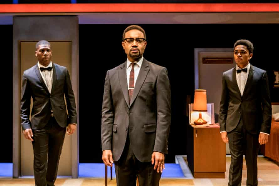'You brothers are our bright shining future' … Francois Battiste as Malcolm X with bodyguards Dwane Walcott (left) and Josh Williams (right).
