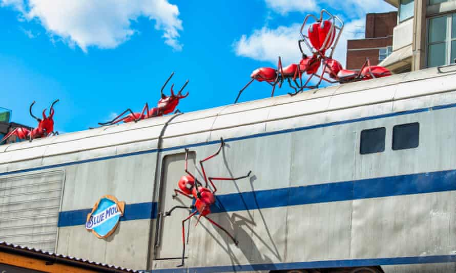 Ants made from motorbike fuel tanks are part of a Mutoid installation in south London.